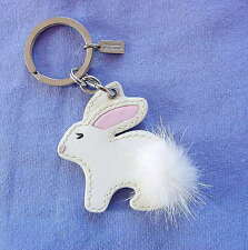 COACH Mink FUR Bunny RABBIT KEYCHAIN Key Ring CHARM Fob #92447 Easter