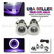 "2PC USA 3"" PROJECTOR FOG LIGHT PURPLE CCFL HALO ANGEL EYES HID READY DUAL SWITCH"