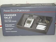 Perry Ellis Portfolio Charger Valet Collar Stays Wood BLACK  charging cell NEW