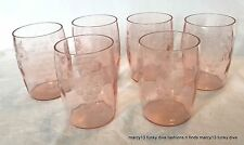 """6 Pretty Pink Depression Glass Beverage Tumblers  Etched Grape 4.5"""" Tall Glasses"""