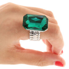 Fashion Huge Faceted Cuboid Diamond Emerald Ruby Sapphire Ring Jewelry-Green