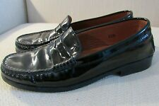 Tods Black Patent Leather Penny Loafers size 35.5 Driving Shoes