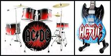 Miniature Guitar + Drum Kit Set ACDC. AC/DC