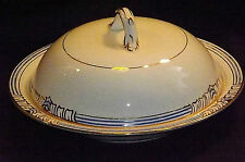 Bisto White with Blue and Gold lined pattern  Covered Lidded Tureen