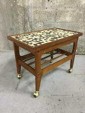 VINTAGE MID-CENTURY MODERN TV STAND / SIDE TABLE WITH MOSAIC TOP