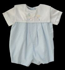 BAILEY BOYS Blue Seersucker Embroidered BUNNY RABBIT Romper 3m Shortall Easter