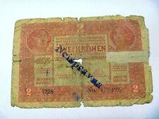 2 Kronen 1917  Briefmarke Aufdruck Austria banknote