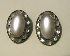 Very pretty oval clip on earrings with faux pearl centre and white stone design