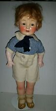 Vintage HORSMAN Composition BOY DOLL REDHEAD 16 inch signed EIH Co Inc