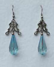 TURQUOISE VICTORIAN STYLE FILIGREE EARRINGS DRK SILVER PLATED ACRYLIC CRYSTAL VC