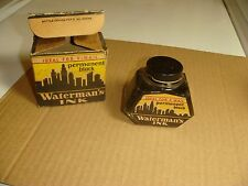 Waterman's fountain pen Ink Bottle WW2 V-Mail Permanent Black v0805 box UNUSED