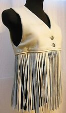 VTG--Fantastic LEATHER FRINGE VEST--Metal Buttons--Size S/M--EUC