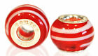 *New* 2x 925 sterling silver and murano glass Source charm beads - red/white