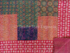 Ethnic Block Print Bedspread Patchwork Kantha Quilt Vintage Ralli Throw Bedding