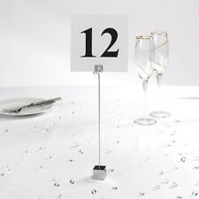 6 LOVELY SQUARE BASE CHROME WEDDING / PARTY TABLE NUMBER PLACECARD HOLDERS
