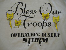 VTG Bless Our Troops Operation Desert Storm Military Yellow Ribbons T Shirt S