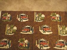 Local Heroes Cotton Fabric Vintage Scenic Fireman Scenes Toss Fabric .65 Yd L