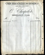"CHENERAILLES (23) MATERIAUX de CONSTRUCTION ""CHATRON & COURTY / O. CHAPELOT"""