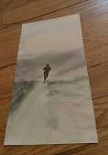 vintage watercolor painting figure running down a path over a hill Colorful art