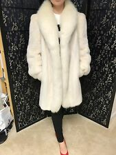 Wonderful White Mink Fur Coat With Fox Fur Trim. Size 6