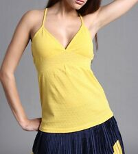 FREESOUL yellow top tank t-shirt maglietta canotta donna cotone giallo lurex M