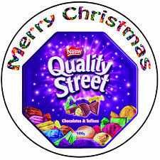 "Christmas Cake Topper Quality Street - Precut Round 8"" (20cm) Icing Decoration"