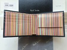 Paul Smith Signature Stripe Coin Wallet - Black Leather -