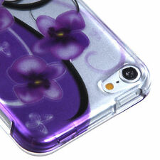 iPod Touch 5th 6th Gen HARD SNAP ON CASE COVER PURPLE FLOWER PETUNIAS BUTTERFLY