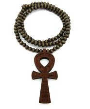 "NEW ANKH CROSS GOOD QUALITY WOOD PENDANT 8mm/36"" WOODEN BEAD NECKLACE XJ224"