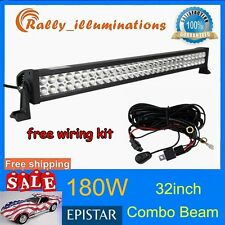 HOT 32INCH 180W LED WORK LIGHT BAR COMBO BEAM OFFROAD UTE 10-30V+FREE WIRING KIT