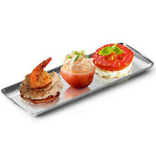 12 Silver Look Plastic Trays . . . .long small sushi holder salad veg party pack