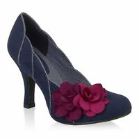 Ladies Ruby Shoo April Navy Blue Heeled Court Shoes with Flowers Sizes UK 3 - 8