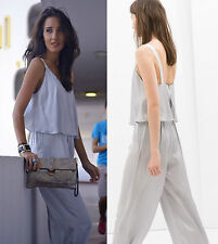 ZARA BASIC DOPPELLAGIGER OVERALL S 36 SILBER SILVER VOLANT SEIDEN LOOK