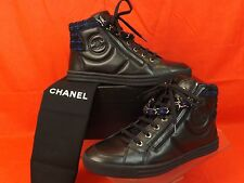 15K NIB CHANEL BLACK NAVY  TWEED LEATHER CC LOGO 2X ZIP CHAIN SNEAKERS 38.5