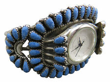 Juliana Williams JW Navajo Watch Sterling Silver Blue Lapis Turquoise Cuff 75h