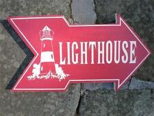 LIGHTHOUSE ARROW Wood Sign-Seaside Beach Coastal Ocean Nautical Home Decor