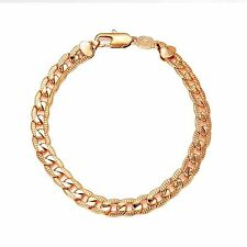 9CT Rose Gold Filled Diamond Cut Curb Bracelet For Men BR36