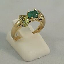 BEAUTIFUL LADIES 18CT SOLID GOLD SINGLE STONE EMERALD DRESS RING