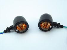 Black Amber Turn Signal Indicator Light For Harley Cafe racer Bobber Chopper
