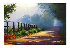 LARGE MORNING LIGHT PAINTING COMMISSIONED FOGGY RURAL TRAIL LANDSCAPE  FINE ART