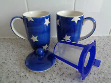 2 X NEW WHITTARD OF CHELSEA BLUE TEA CLIPPER MUGS HAND PAINTED WITH LID DIFFUSER