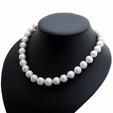 "Cultured Pearl Necklace 11 mm White Freshwater Pearls Sterling Silver 17"" String"