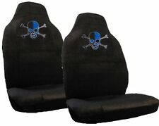 Blue Skull w/Crossbones Crystal Studded Rhinestone Seat Covers Pair