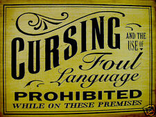 VINTAGE STYLE RETRO METAL PLAQUE Cursing and the use of Foul Language Sign  Ad