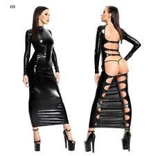 Sexy PVC look Black Faux Leather Gothic Fetish lingerie Bondage Long dress 069