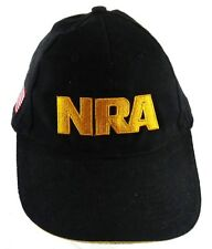 NRA Hat Velcro back Adjustable USA Flag on the Side Black with Maize Lettering