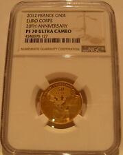 France 2012 Gold 1/4 oz 50 Euro NGC PF-70UC Mitterrand and Kohl Eurocorps