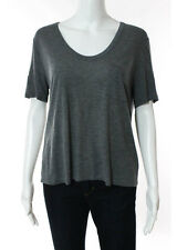 NWT T ALEXANDER WANG Gray Short Sleeve Boat Neck Cropped Tee Sz L $85