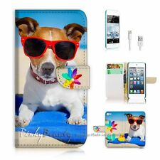 iPod Touch 5 iTouch 5 Flip Wallet Case Cover P2356 Beach Dog