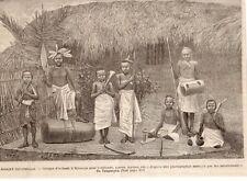 IMAGE 1889 ENGRAVING CONGO KIBANGA ENFANT TAMBOUR MUSICIEN MUSICIAN KIDS